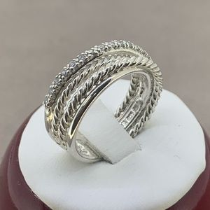 David Yurman Crossover Ring with Diamonds 💎